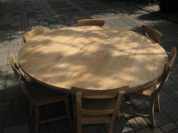 Compleet Eettafel Met 6 Stoelen.Ronde Teak Tafel Met 6 Stoelen Teakmeubelen Com