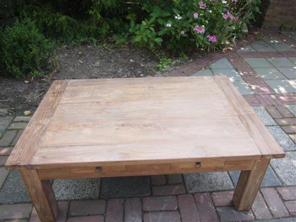 Teak salontafel 120 oud hout for Teakhouten tafel