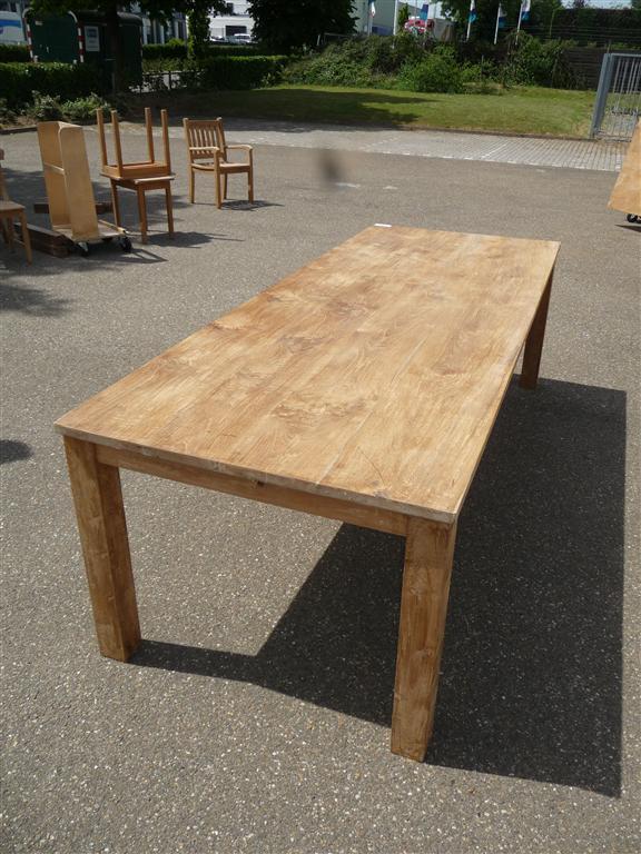 Teakhouten tafel 260x100cm for Teakhouten tafel