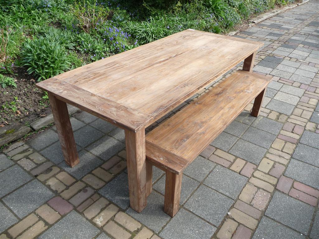 Lees verder over teak tafel 220 bankje 190cm oud hout